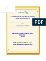 Pesquisa Operacional 2013.2 Módulo 1