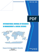 International Journal of Research in Management & Social Science Volume 2, Issue 2 (I) , April - June 2014