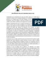 Proclama Congreso Para La Paz - 2013