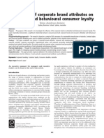 the Effects of Corporate Brand Attributes on Attitudinal and Behavioural Consumer Loyalty