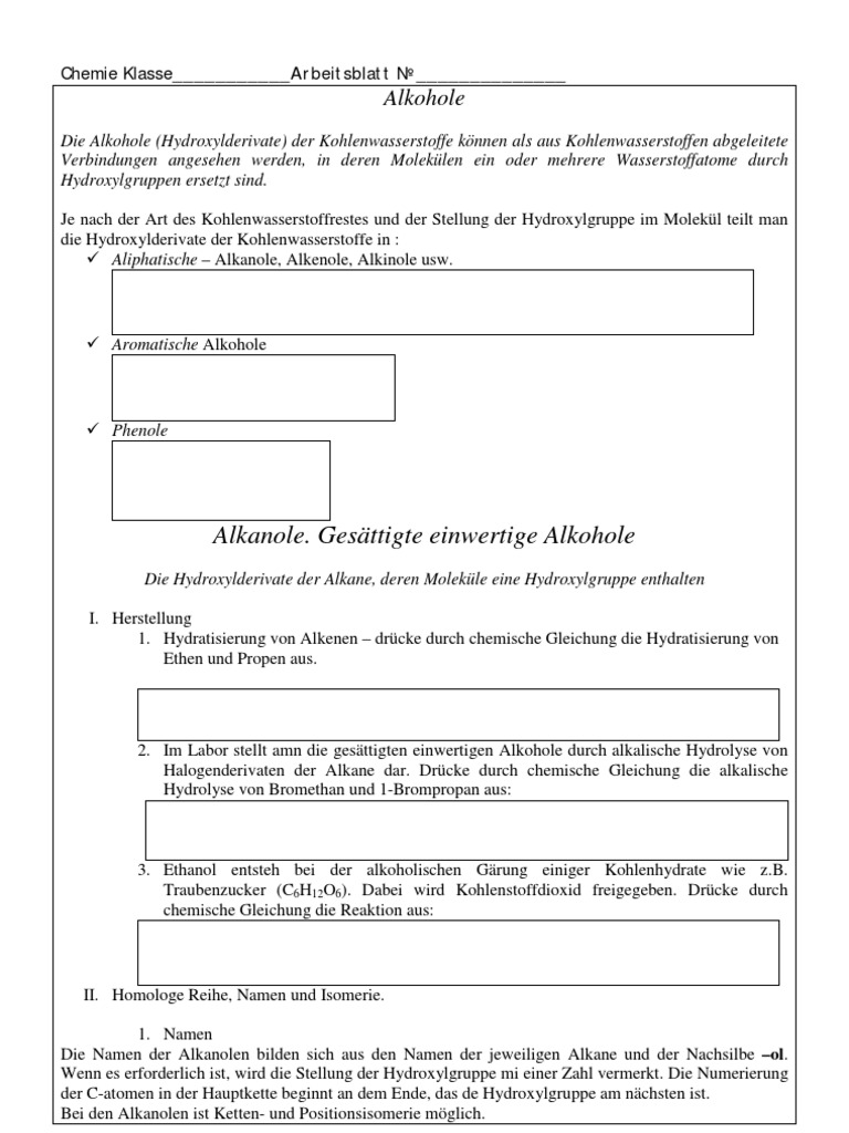 Chemie Klasse Arbeitsblatt №