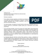 Secretaría Ejecutiva del Foro de Sao Paulo apoya a la Revolución Ciudadana