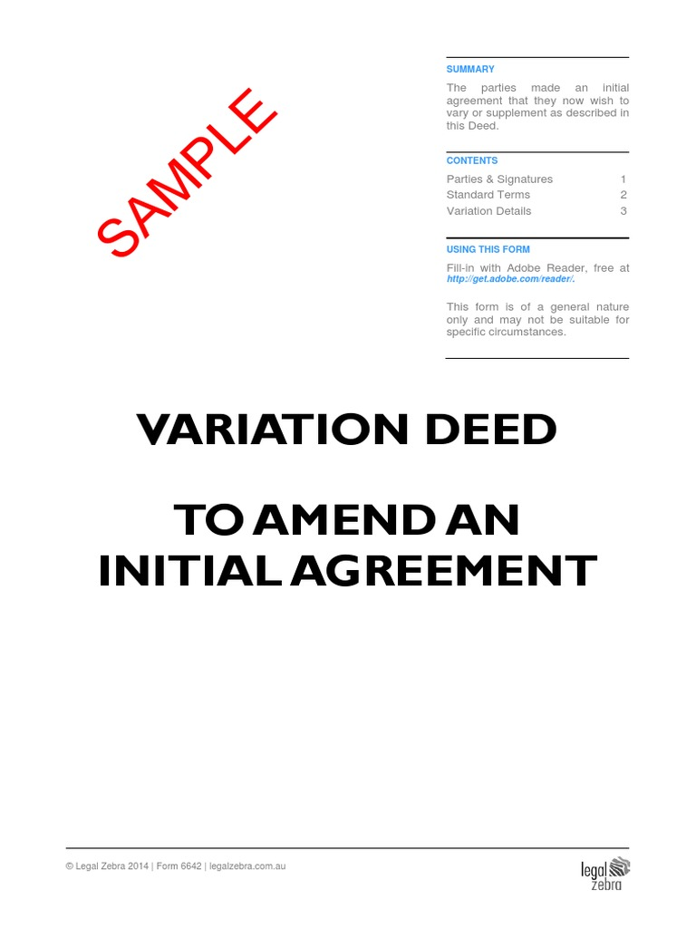 Variation Deed To Amend An Initial Agreement Template Sample