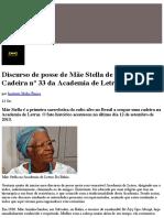 Discurso de Posse de Mãe Stella de Oxóssi Na Cadeira Nº 33 Da Academia de Letras Da Bahia – Correio