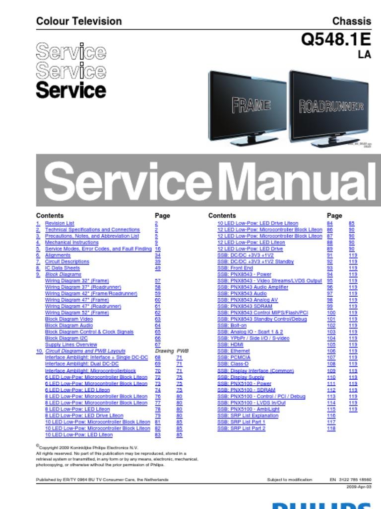 philips q548 1e la chassis lcd et hdmi digital television rh scribd com