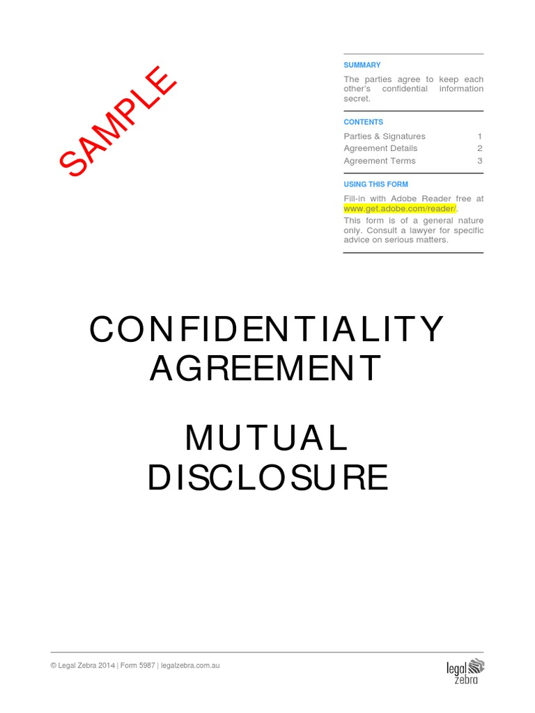 Confidentiality Agreement (Mutual Disclosure) Sample | Non Disclosure  Agreement | Confidentiality