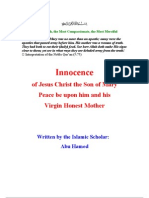 Innocence of Jesus Christ the Son of Mary and His Virgin Honest Mother