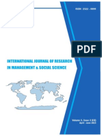 International Journal of Research in Management & Social Science Volume 3, Issue 2 ( III ) April to June 2015 ISSN