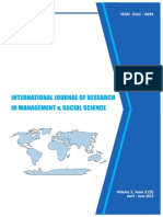 International Journal of Research in Management & Social Science Volume 3, Issue 2 ( II ) April to June 2015 ISSN