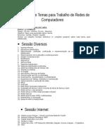 Temas Para Trabalho de Redes de Computadores