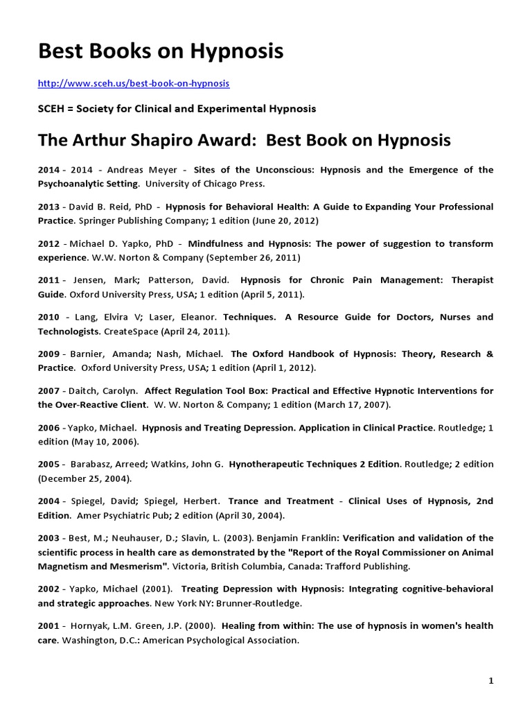 Best books on hypnosis 2015 hypnosis hypnotherapy fandeluxe Image collections