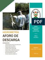 Hidrometria - AFORO DE DESCARGA