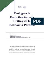 PROLOGO A LA CONTRIBUCIÓN DE LA ECONOMÍA POLÍTICA