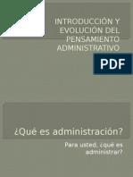 Introduccion Del Pensamiento Administrativo