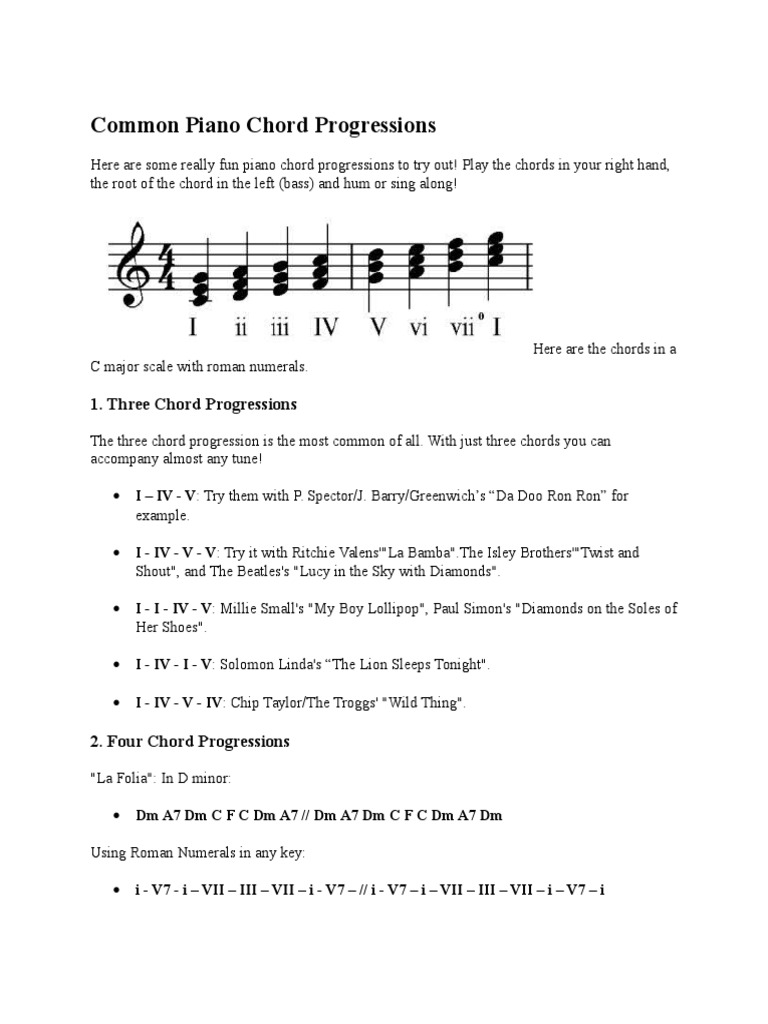 Common piano chord progressions music theory musical forms hexwebz Choice Image