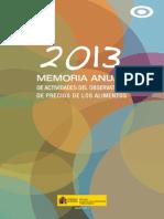 2013 memoria anual de actividades del observatorio de precios de los alimentos
