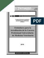 Estandares Para La Acreditacion de La Carrera Profesional Universitaria de Medicina Veterinaria
