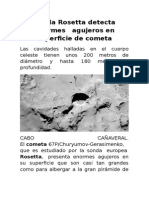 Sonda Rosetta Detecta Enormes Agujeros en Superficie de Cometa