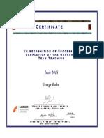 Babu George Laureate Education Program Participation Certificate