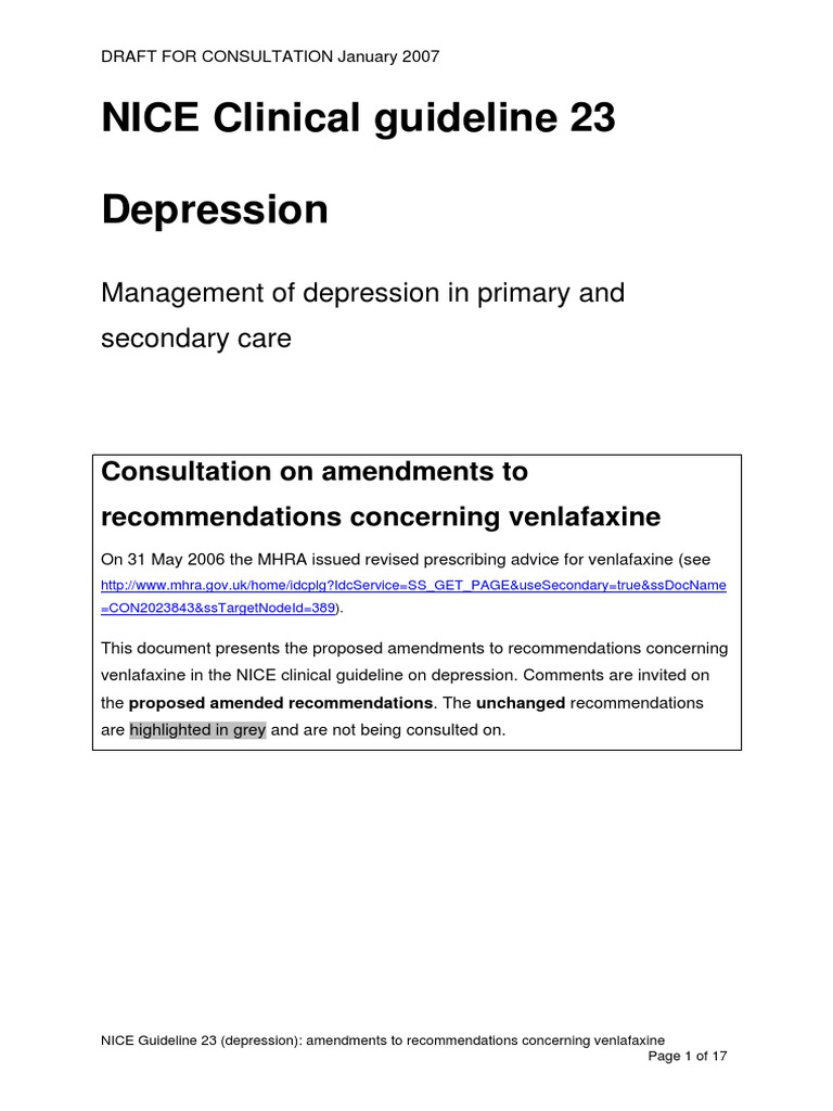 NICE Clinical Guideline - Depression | Antidepressant ...