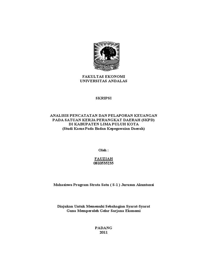 Contoh Skripsi Akuntansi Keuangan Daerah Contoh Soal Dan Materi