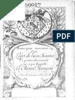 Bacilly, Bénigne de - Remarques Curieuses Sur l'Art de Bien Chanter I