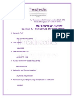 The Threadneedle hotel  Interview Form.docx