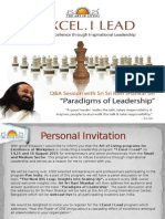 I EXCEL. I LEAD Leadership Program Invite by The Art of Living Program For Excellence at Workplace - August 2015