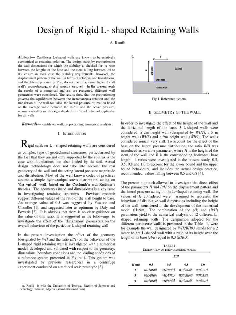 Rouili Paper On Retaining Wall Physics Physics Mathematics