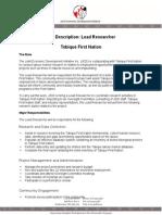 Lead Researcher Job Description - Tobique LMI_2
