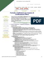 Formule e Definizioni Per l'Esame Di Certificazione PMP
