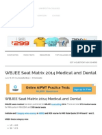 WBJEE Seat Matrix 2014 Medical and Dental - Admission & Entrance Exams