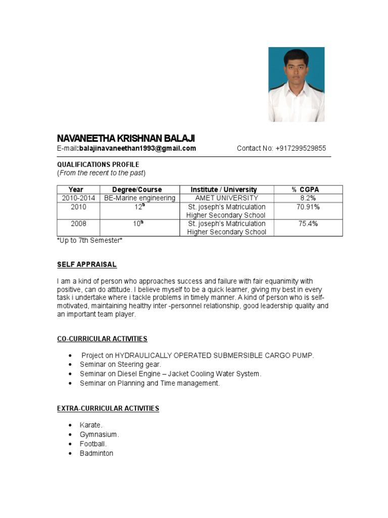 Sample engine cadet resume yelopaper Images
