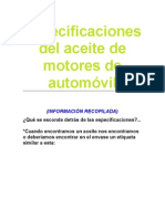 Clasificacion de Aceites de Automovil