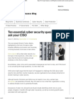 Ten Essential Cyber Security Questions to Ask Your CISO