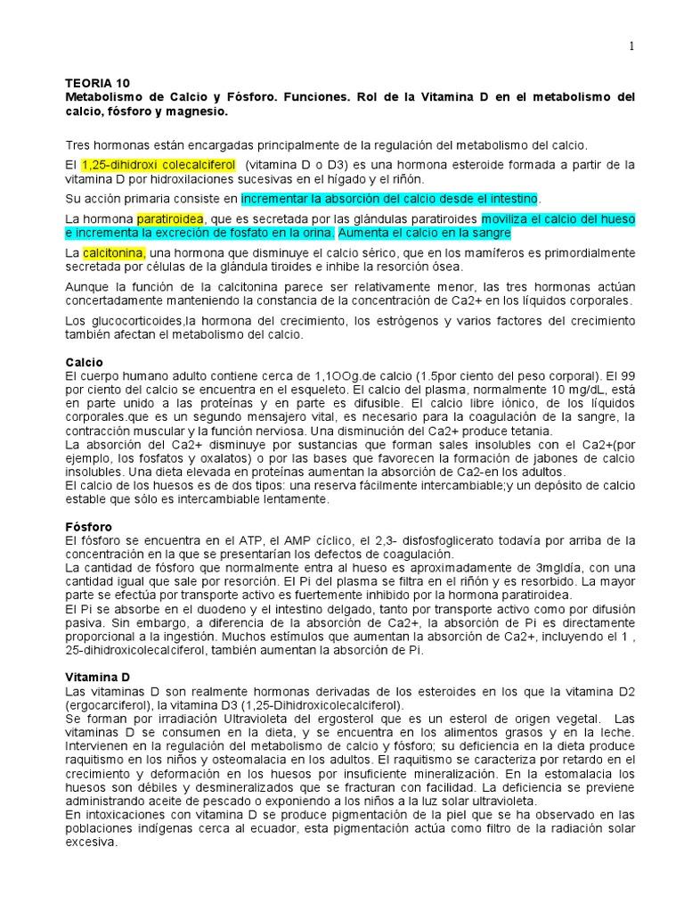 Metabolismo de Calcio y Fósforo - Vitamina a - Calcio