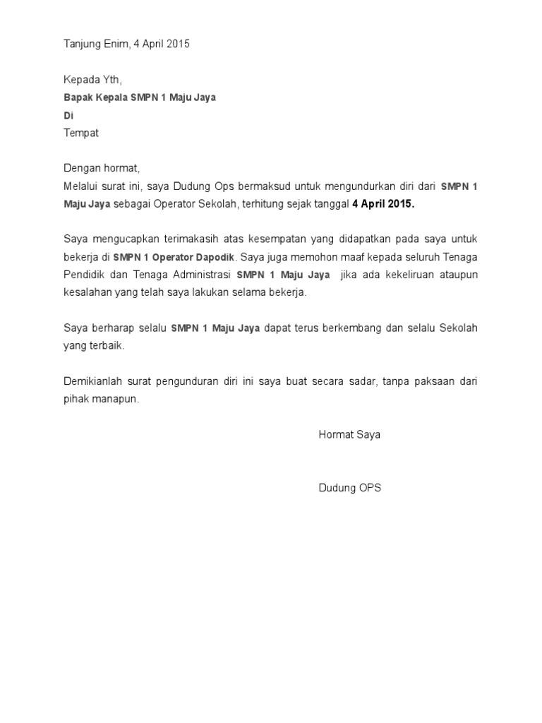 44++ Contoh surat pengunduran diri operator terbaru terbaik