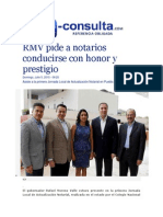 05-07-2015 E-consulta.com - RMV Pide a Notarios Conducirse Con Honor y Prestigio