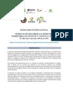 SEMINARIO INTERNACIONAL MODELOS DE DESARROLLO, DERECHOS TERRITORIALES ÉTNICOS Y CONSULTA PREVIA