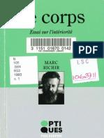 Marc Richir Le corps. Essai sur l'intériorité