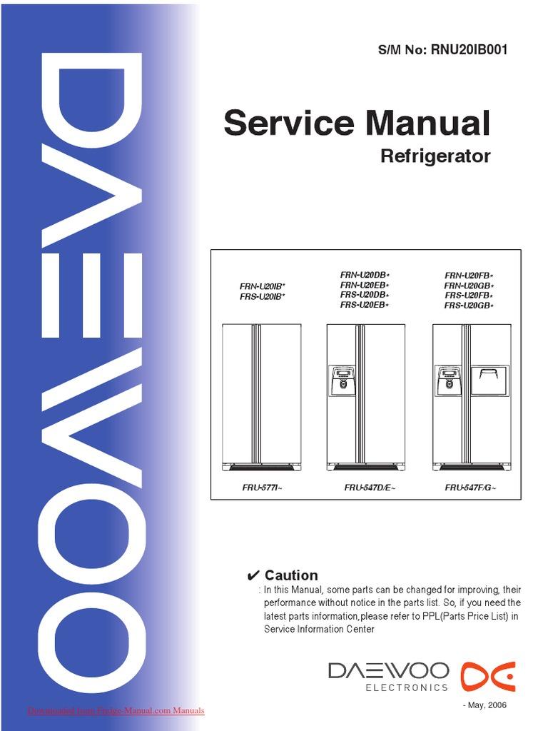 Service manual daewoo frs u20 refrigerator switch asfbconference2016 Choice Image