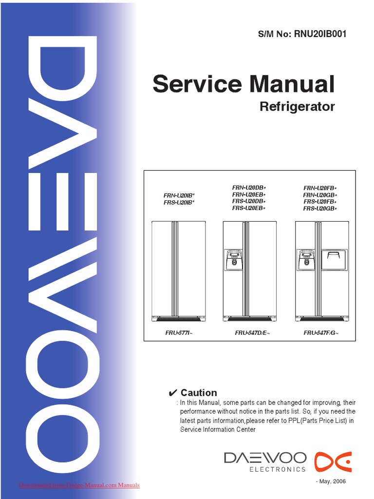 Service Manual Daewoo Frs U20 Refrigerator Switch Understanding Fridge Wiring Diagram Home Improvement