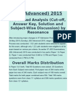 Jee Adv 2015 Question Distribution