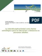 La Interdisciplinariedad Como Factor Estratégico Para La Educación a Distancia en Personas Adultas