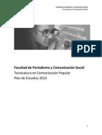 Plan de Estudios - Tecnicatura en Comunicacion Popular