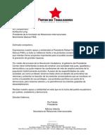 RESPALDO A LA REVOLUCIÓN CIUDADANA POR PARTE DEL PT DE BRASIL