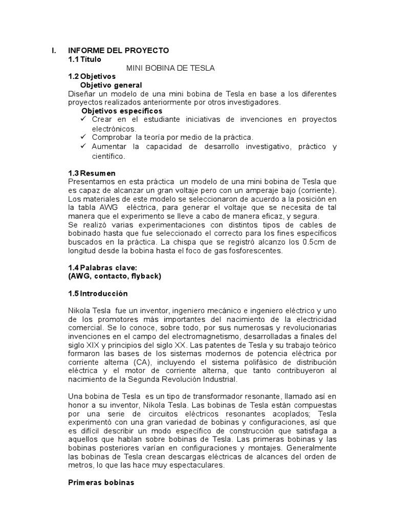Circuito Bobina De Tesla : Informe bobina de tesla