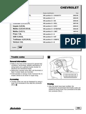 Chevrolet Códigos   Ignition System   Throttle