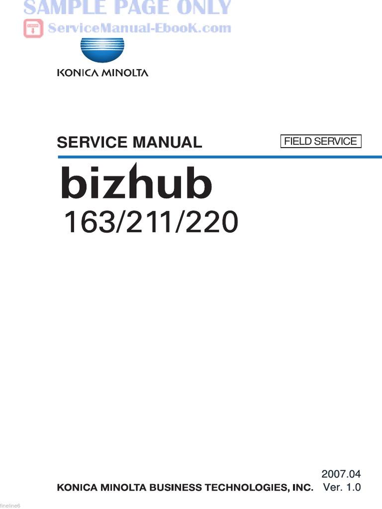 konica minolta bizhub 163 211 220 service manual free pdf image rh scribd com Konica Minolta Bizhub C550 Konica Minolta Bizhub C280