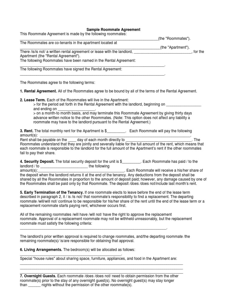 Sample roommate agreement roommate lease platinumwayz